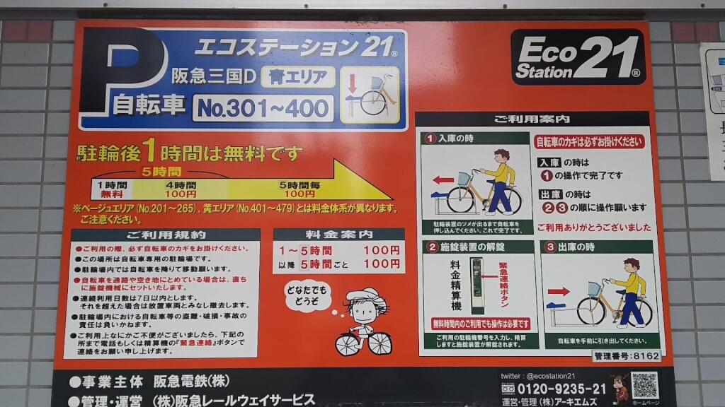 阪急 三国駅 駐輪場 三国D 料金表