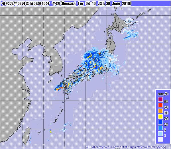 2019年6月30日 4時10分 気象庁 レーダーナウ キャスト