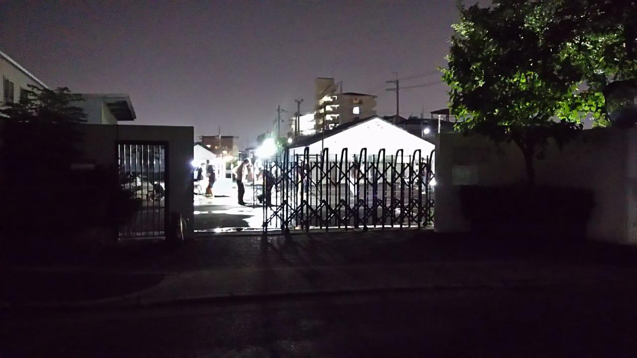三津屋北4・5で開催された子どもの夜店 大阪ガス 駐車場