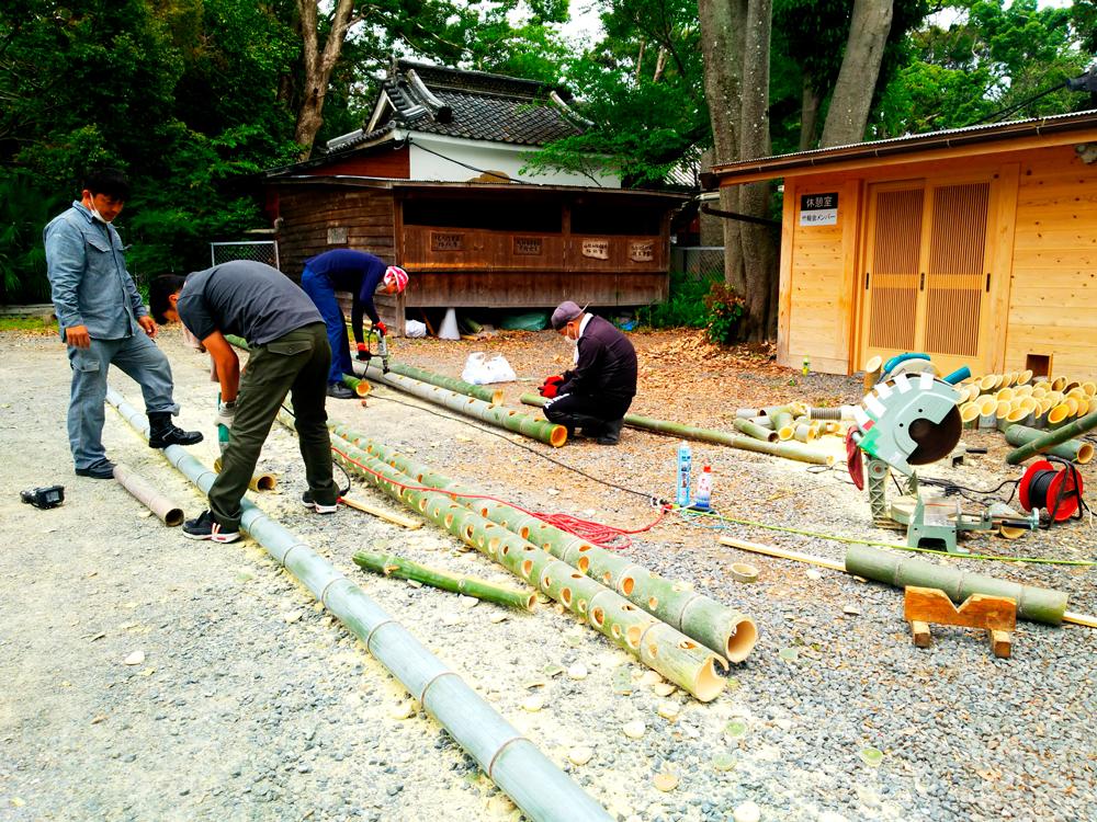 竹灯籠制作