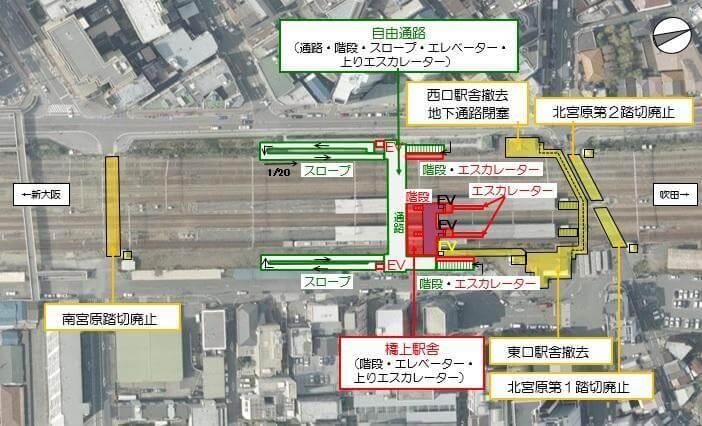 JR西日本JR東淀川駅橋上通路旧駅舎踏切