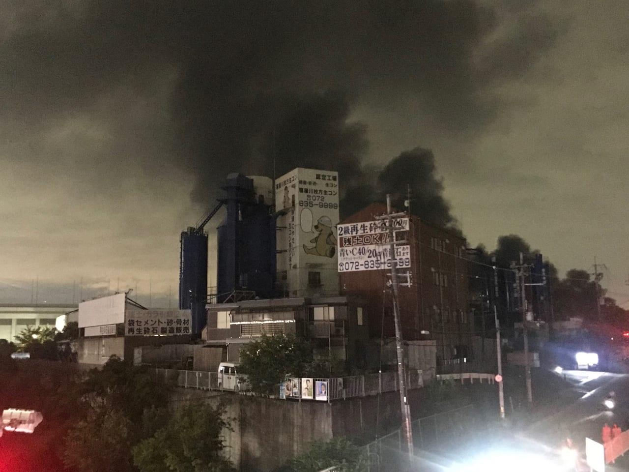 寝屋川からみた柱本爆発火災