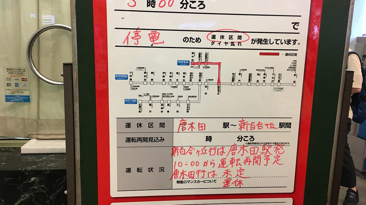 永山変電所火事における永山駅