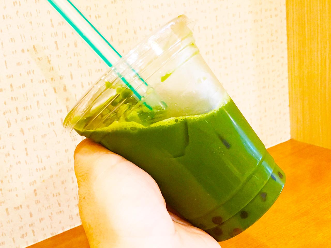 四六時中永山店の祇園辻利抹茶使用のタピオカグリーンティー